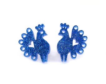 Blue Peacock Earrings, Sparkly Blue Peacock Stud Earrings, Royal Blue Glitter Peacock Earrings, Gift for her