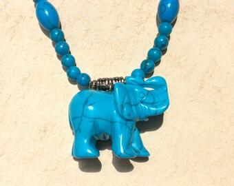 Faux Turquoise Elephant Necklace