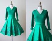 1950s Party Dress - Vintage 50s Dress - Emerald Wool Satin Full Skirt Cocktail Dress M - Christmas Lane Dress