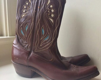 Vintage Acme PeeWee 1950s Cowboy Boots - Vintage Western Cowgirl Brown Turquoise Inlays Shortie Boots 8 - Lotus Flower Boots