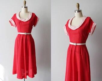 R e s e r v e d 1940s Dress - Vintage 40s Dress - Red Dotted Swiss Cotton Swing Dress - Sister Scarlet Dress