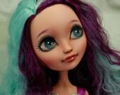 "OOAK Ever After High Way Too Wonderland 17"" Madeline Hatter Doll Repaint"