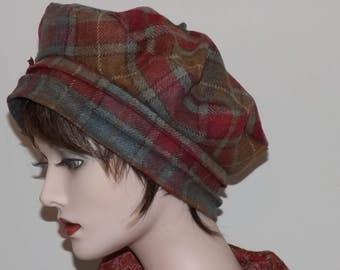 Ladies Red Brown Plaid Tam, Wool Fabric Tam
