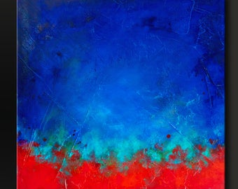 Eruption 2 - 24x24 - Abstract Acrylic Painting on Canvas - Original Wall Art Contemporary Bright