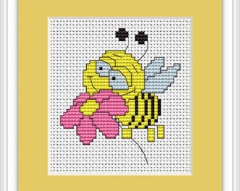 Bee with Flower Cross stitch kit from Luca-S. Ideal for Beginners.