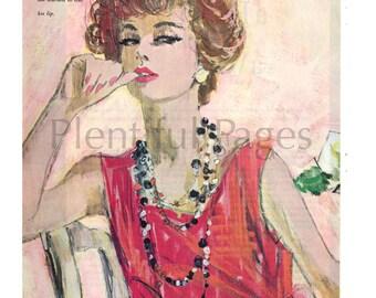 1960's Vintage Magazine Illustration, 1960's Lady, 1960's Fashion, Magazine Art, Retro Illustration, Great for Framing or Collage.