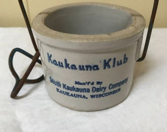 Kaukauna Klub Dairy Co. Wisconsin Souvenir Jar Crock Cheese Jar Stoneware Canning College  Advertising Preserve Jar Farm House Farmhouse