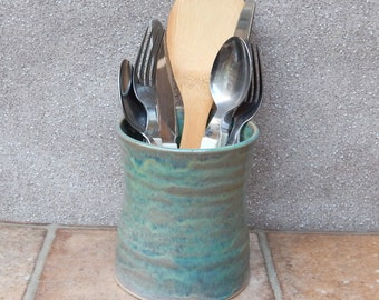 Cutlery and utensil drainer toothbrush holder hand thrown stoneware pottery ceramic handmade wheelthrown