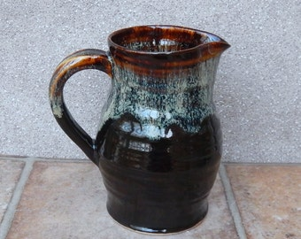 Jug or pitcher hand thrown in stoneware handmade ceramic wheelthrown pottery wine water milk