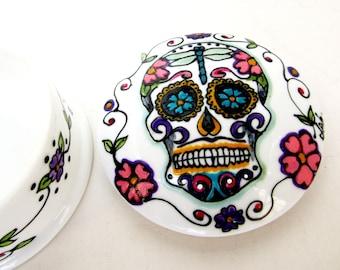 Sugar Skull Trinket Box Day of the Dead Jewelry Vanity Box Hand Painted Mexican Folk Art