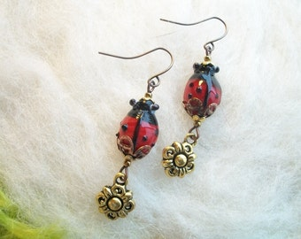 Ladybug Earrings Red Glass Ladybug Beaded Earrings Handmade Beaded Earrings Flower Fairy Enchanting Ladybug Earrings Golden Flower Charm