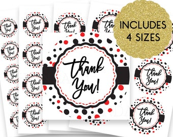 30% OFF SALE Thank You Stickers - Thank You Tags -  Thank You Labels - Round Thank You Stickers - Small Thank You Tags - Confetti Fun