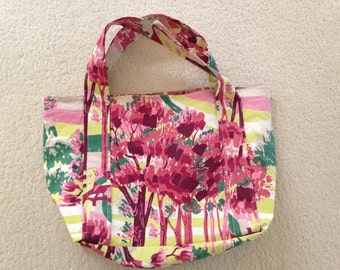 Handmade Vintage Fabric Tote Bag FREE Shipping