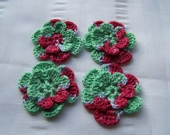 Appliques hand crocheted flowers set of 4 cranberry jellied salad cotton 1.5 inch red green