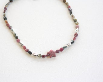STAR POWER, Peace Love Joy, Pink and Green Tourmaline beads with Rhodonite  Star and Silver Sayings, 15-inch necklace