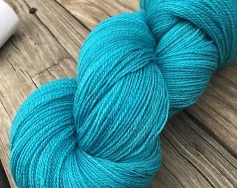 Mermaid's Curse hand dyed lace weight yarn turquoise merino silk yarn semisolid lace yarn 875 yards super fine merino teal blue green