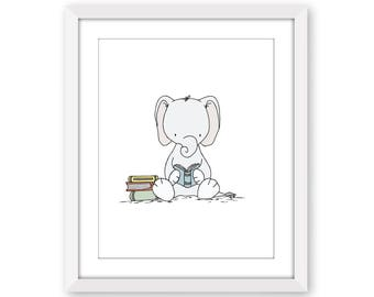 Nursery Art -- Elephant Reader -- Elephant Nursery Art Print -- Nursery Decor - Elephant Art - Book Art - Kids Wall Art