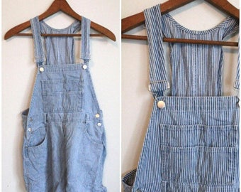 Shorts Overalls, Railroad Stripes, GRUNGE, Bib Front, Denim Overalls, Jean Overalls, 90s, Shortalls, Overall Shorts, Small, Medium