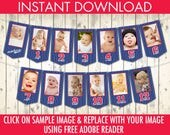 Baseball First Year Photo Banner | 12 Month Photo Banner | Baseball 1st Birthday, Baseball Party | INSTANT Download DIY Printable PDFs
