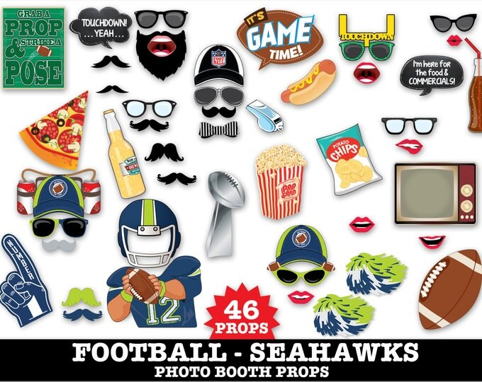 Seahawks Football Photo Booth Props - Bowl Party- Football Party - Instant Download PDF - 46 DIY Printable Props