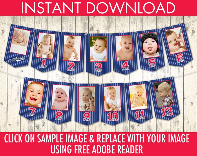 Baseball First Year Photo Banner - 12 Month Photo Banner,Baseball 1st Birthday Party, Click & Replace Photo | DIY INSTANT DOWNLOAD Printable