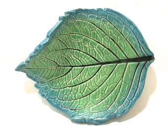 Leaf Dish, Tea Light Holder, Spoon Rest Leaf Dish, Hand-Built Hydrangea Leaf