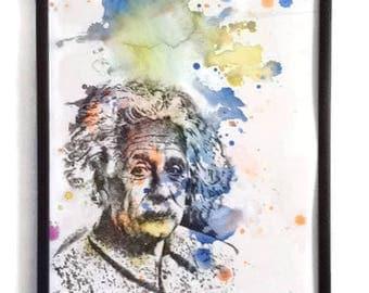 Portrait Painting ofAlbert Einstein Portrait Watercolor Painting - Original Watercolor Painting 8.5 X 11 in. Pop Art Wall Decor
