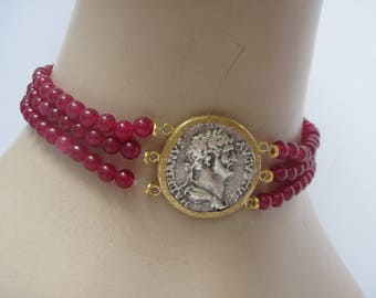 SALE  Choker Necklace with Roman Coin and Carnelian Beads Reversible