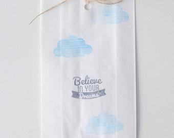 Believe In Your Dreams CLOUD Print White Paper Party favour bags, unicorn party favours, dreamcatcher favours,