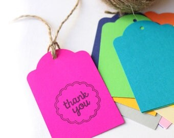 THANK YOU tags, gift tags, tags, coloured thank you tags, THANK you favour bag tags, mixed coloured tags X 10