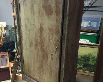 Primitive cabinet cupboard mustard paint 3 shelves 28w14d51.5h Shipping is not free