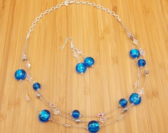 Necklace & Earring Set - Silver Lined Capri Blue 3-Strand - Bright Blue