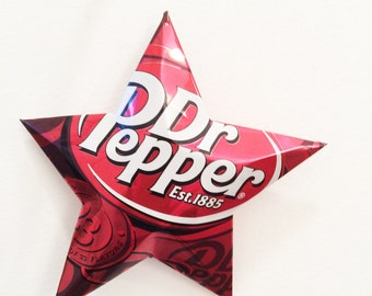 Extra Large Dr. Pepper Ornament, Star from Soda Can, Gift Topper, Folded Aluminum,Recycled Can Star