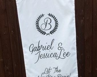 Wedding Banner Sign Custom Personalized White Ivory Fabric Banner Ceremony Decor Monogram Initial Name Sign