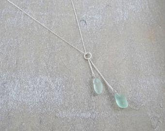 Light aqua blue sea glass lariat necklace with sterling silver