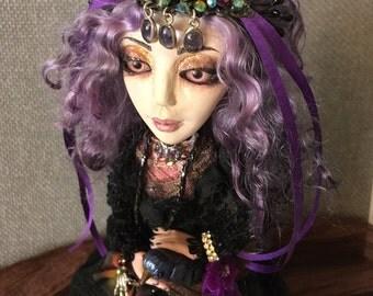 art doll one of a kind ooak Gypsy Bird Fortunate Teller magic sparkle bling