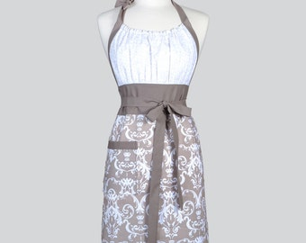 Cute Kitsch - Taupe Gray and Ivory White Damask Modern Wedding Womens Chef Apron Makes Ideal Gift for Her