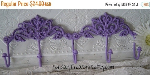 SALE Lavender Purple. Double Scroll scrolly Iron Wall Hook. 5 hooks. Towel / Jewelry Hook / Shabby  Cottage Chic /Victorian Decor. Nursery