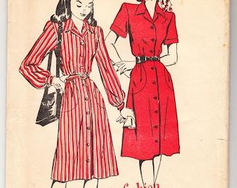 Vintage 1947 Advance 4594 FF Sewing Pattern Junior's, Misses' Dress Size 12 Bust 30