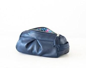 Blue makeup bag leather, accessory bag cosmetic case toiletry case vanity bag utility case travel zipper case -Estia Bag