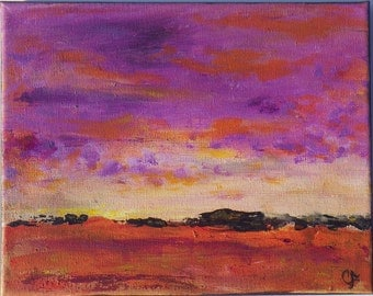 Abstract sunset landscape painting, 8x10 small abstract landscape sunset in purple and sienna tones