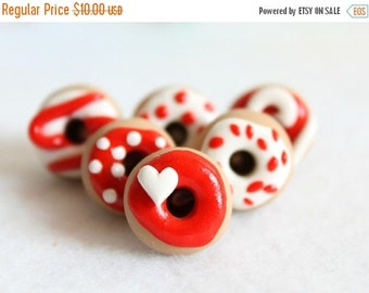 CHRISTMAS SALE Red & White Donut Push Pins, Set of 6