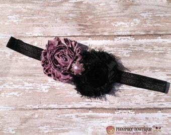30% OFF SPRING SALE Pink Flower Headband, Damask, Newborn Headband, Baby Headband, Infant Headband, Baby Shower Gift, Flower Girl, Birthday