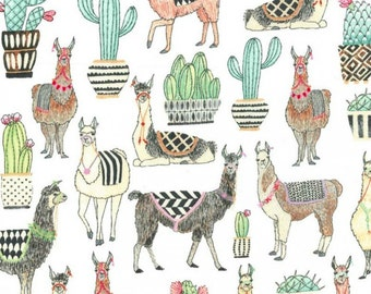 Michael Miller - Lovely Llamas Collection - Lovely Llamas in White