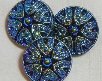 Small Drama Czech Glass Button (3)