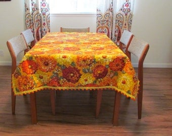 Orange and Yellow Big Bloom Florals with Pom Poms, Vintage Table Cloth