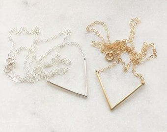Chevron Charm Necklace | Dainty Necklace | Sterling Silver | Gold Filled
