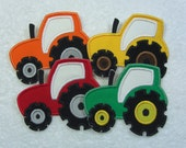 Tractor Applique Patch in 4 Color Choices Fabric Embroidered Iron on Applique Patch Made to Order