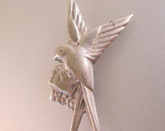 SALE ON Ends 4/30 1930s Mexican Bird with Love Letter Sterling Silver Pin Brooch Vintage Jewelry Jewellery