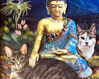 CUSTOM cat portrait budda blue pet portrait asian mountains flowers nature art gotagt team OOAK